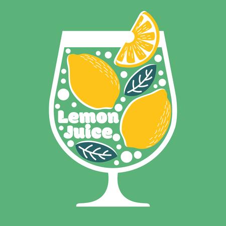 Lemon background. Summer exotic and tropic juice lemonade vector vintage poster. Illustration of fruit lemonade, juice citrus Vector Illustration