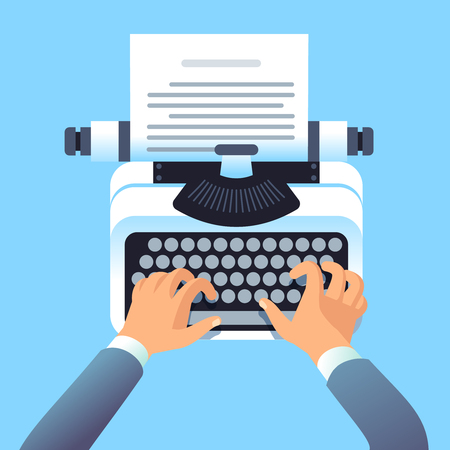 Writer author write article with typewriter. Mans hands type story for paper book or blog. Blogging and copywriting vector concept. Typewriter journalist, author blog on workplace illustration Ilustração