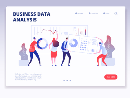 Landing page. People with dashboard and data charts infographic. Business analysis and statistics agency vector concept. Illustration of business data analytics, analysis chart and management