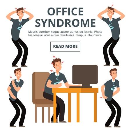 Office syndrome symptoms of set vector illustration. Syndrome body pain exercise Vektorové ilustrace