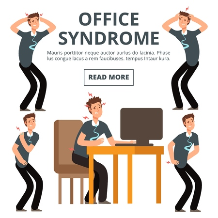 Office syndrome symptoms of set vector illustration. Syndrome body pain exercise Illustration