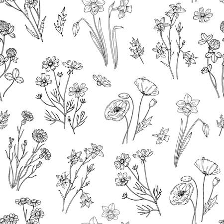 Wildes Blumenmuster. Nahtlose Blumentapete mit Wildblumen. Vintage Stoff Vektor Hintergrund. Illustration des wilden Blumensommers des nahtlosen Musters