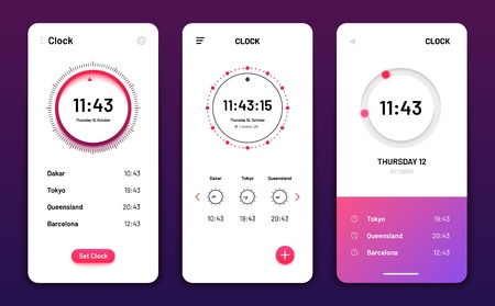 Clock app. Digital clock alarm phone application. Cellphone watch widget futuristic vector user interfaces. App ui clock mobile, time and date illustration