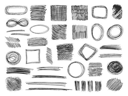 Esquissez des formes. Cadres de gribouillis dessinés à la main. Griffonnages au crayon. Ensemble de vecteurs isolés de textures esquissées. Illustration d'un croquis de griffonnage, doodle de cadre de dessin Vecteurs