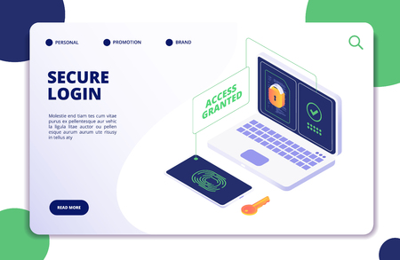 Authentication and authorization. Duo internet identity, safety multi password. Authentic isometric 3d vector concept. Illustration of verification security password Vettoriali