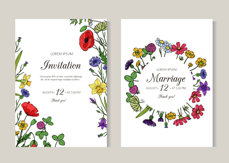 Wedding invitations. Greeting card with summer wild meadow flowers. Spring floral retro sketch vector flyer template. Wedding card with colored floral illustration