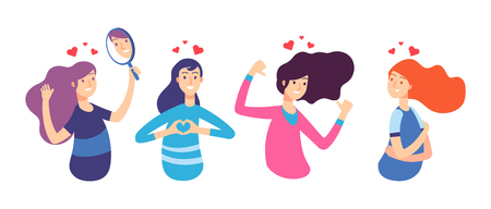 Love yourself. Narcissistic, self-confident people hugged themselves. Loving oneself men and women. Vector characters set. Illustration of yourself girl and self-esteem  イラスト・ベクター素材