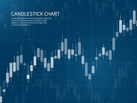 Candlestick chart. Financial market growth graph. Forex trading and stocks investment business vector concept. Illustration of data stock and graph market