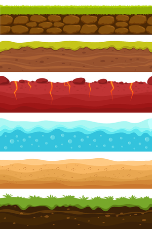 Seamless grounds. Soils, water and land levels with grass, sandy desert. Cartoon vector endless textures set. Illustration of ground and soil horizontal, water and grass for game surface