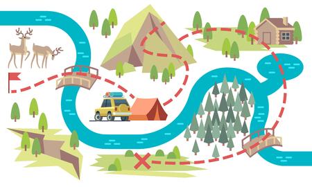 Mapa de senderos. Los turistas recorren el sendero de principio a fin con la ubicación del campamento y la bandera. Ilustración de vector de mapa de ruta turística. Recorrido sendero de aventuras, ruta de senderismo por montaña y bosque.