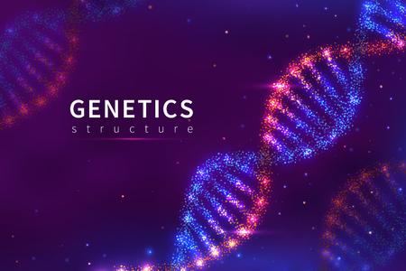 Fondo de adn. Estructura genética, tecnología biológica. Cartel de vector de modelo de adn del genoma humano 3d. Ilustración de la estructura de la hélice molecular, ADN genético