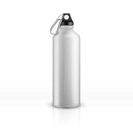 Metal water bottle. White realistic reusable drink flask. Fitness sports stainless thermos. Closeup vector isolated mockup. Container metal bottle for drink water illustration product, travel,