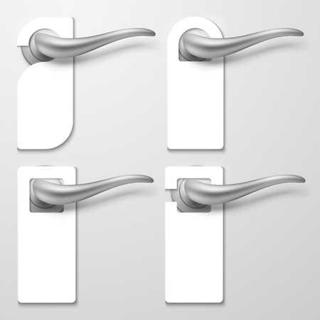 Realistic hotel door handles with white blank plastic hangers vector illustration. Handle door hotel room, warning tag for text