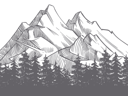 Hand drawn nature landscape with mountains and fores silhouette. Mountain landscape and adventure outdoor travel illustration Ilustração