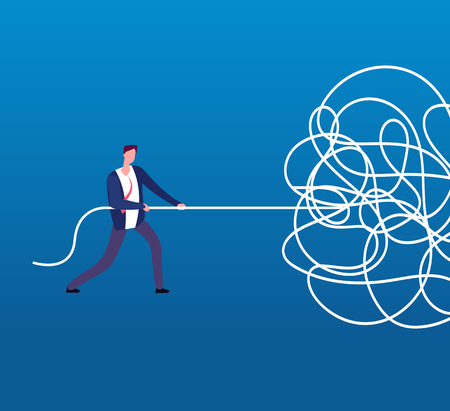 Businessman unraveling tangled rope. Difficult problem, chaos and mess vector business concept. Illustration of businessman with problem, solution and tangled cable