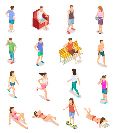 Isometric people in summer clothes. 3d human characters, teenagers in bathing suit. Isolated vector set of people on vacation, woman and man recreation outdoor illustration