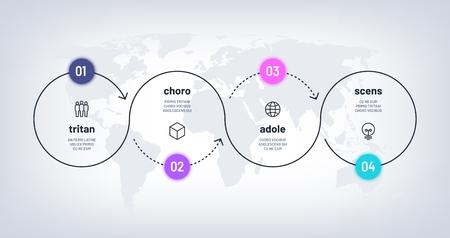 Infografika osi czasu. Schemat procesu pętli z 4 krokami na mapie świata. Proces czterech opcji biznesowych z liczbami. Schemat wektorowy przepływu pracy. Proces kroku na osi czasu, infografika ilustracja biznesowa