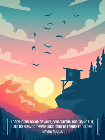 Flat vector mountain landscape with sun and clouds in sky with birds. Outdoor house on mountain, home for tourism in landscape scene illustration Ilustração