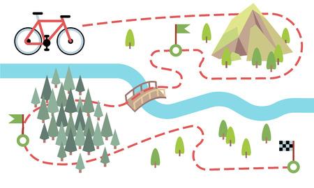 Mappa del percorso in bicicletta. Strada di viaggio in bicicletta, percorso di campagna. Mappa vettoriale del tour di avventura in bicicletta. Illustrazione del viaggio avventuroso in montagna e foresta