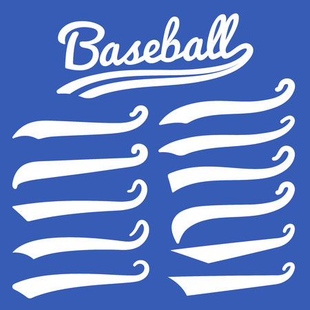 Swash and swoosh. Vintage swashes baseball typography swirl tails. Retro style vector set. Illustration of swash tail, curl calligraphy swoosh