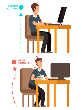 Body incorrect and correct, person sit correct or incorrect vector illustration. Correct body position on chair office