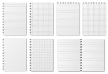 Hojas de papel de cuaderno. Cuaderno de bocetos con páginas en blanco con variedad de líneas y puntos. Maqueta aislada de vector de Bloc de notas. Ilustración de cuaderno y bloc de notas, documento de hoja de nota Ilustración de vector
