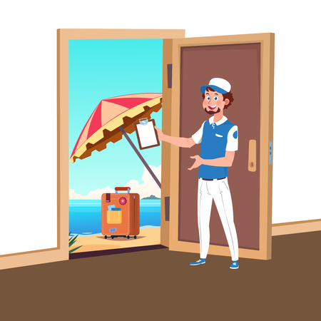 Welcome to travel vector concept with tourism manager and opened door to the beach illustration