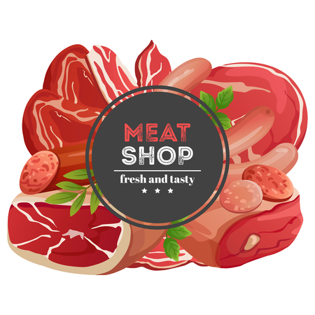 Meat shop emblem design with different meat products vector illustration isolated on white background