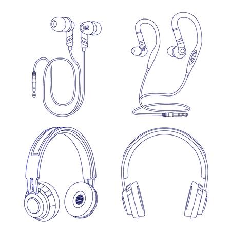 Écouteurs et écouteurs de ligne isolés sur fond blanc. Illustration de l'écoute stéréo du casque linéaire, gadget