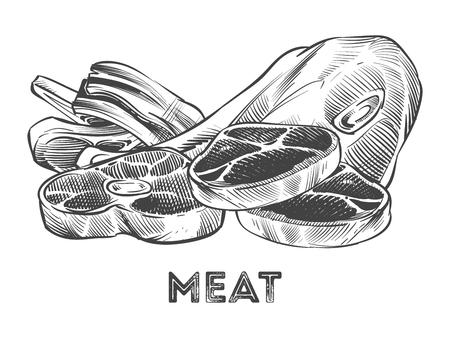 Bistecca disegnata a mano, costolette, carne fresca isolata su fondo bianco. Illustrazione vettoriale