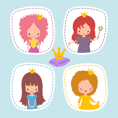 Cute little princess stikers or avatars vector set. Illustration of princess girl character with crown