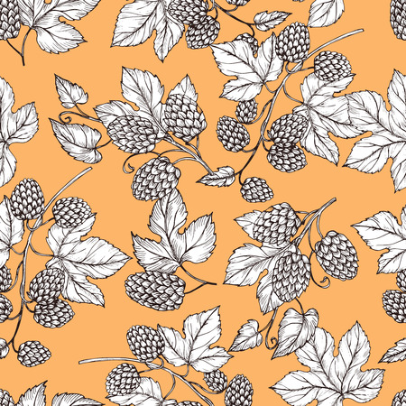 Hand drawn hop and foliage seamless pattern. Illustration of foliage and hop for brewery vintage pattern background Illustration