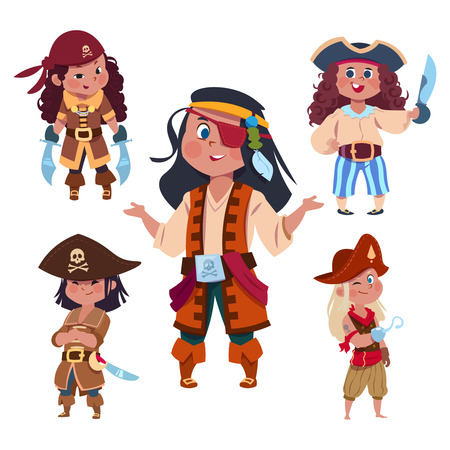 Cartoon character girl pirates isolated on white background. Illustration of pirate character with hook and sabre, pirating costume carnival