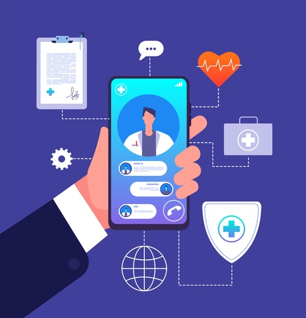 Online doctor concept. Medicine mobile phone app. Doctor consultant advices on smartphone screen. Telemedicine vector illustration. Online medicine consultation, care and diagnosis
