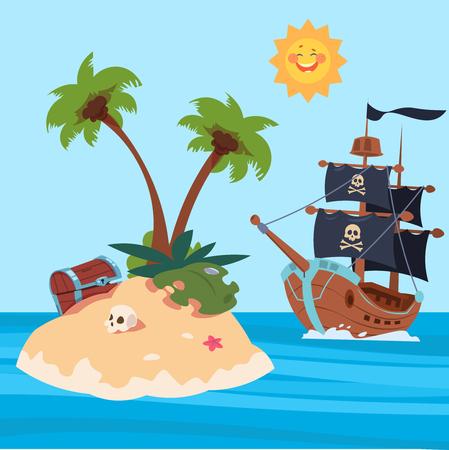 Navire de pirates et illustration vectorielle de l'île aux trésors. Trésor sur l'île de sable dans l'océan