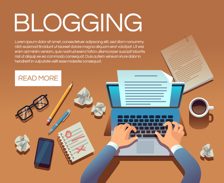 Blogging concept. Writing story book and blog articles. Writer journalist copywriter type on laptop vector illustration. Blogging laptop, journalist blog on workplace Ilustração