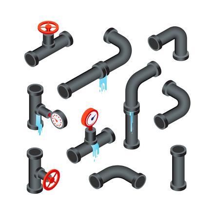 Gebrochene Rohre. Undichte Wasserleitungsrohre. Leckage-Sanitärsystem 3D isometrischer Vektor isoliert Set. Illustration von Rohrleitungen, Rohrsystemleck Vektorgrafik