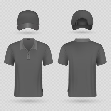 Black baseball cap and male polo t-shirt realistic vector mockup. Illustration of cap and tshirt clothes male