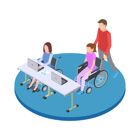 Socialization and education of people with disabilities isometric vector concept. Education woman with medical disability illustration Vettoriali