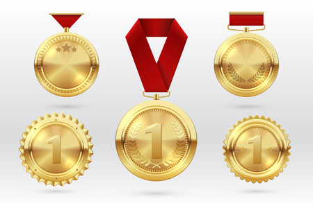 Gold medal. Number 1 golden medals with red award ribbons. First placement winner trophy prize. Vector set of golden award and medal trophy illustration