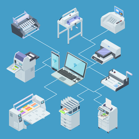 Modern printing house equipment. Printer plotter, offset cutting machines isometric vector concept. Illustration of control processing from laptop, scanning and plotter Vettoriali
