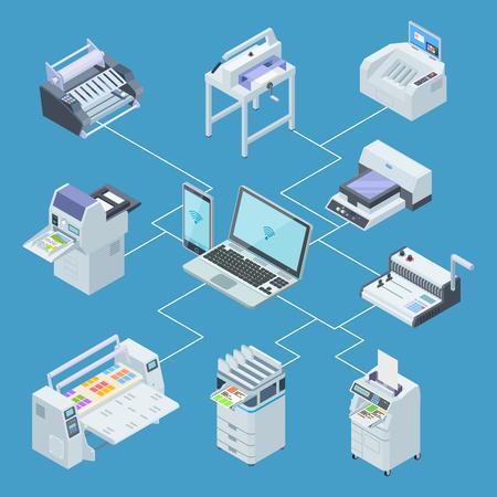 Equipo de imprenta moderno. Plotter de impresora, concepto de vector isométrico de máquinas de corte offset. Ilustración del procesamiento de control desde computadora portátil, escaneo y trazador Ilustración de vector