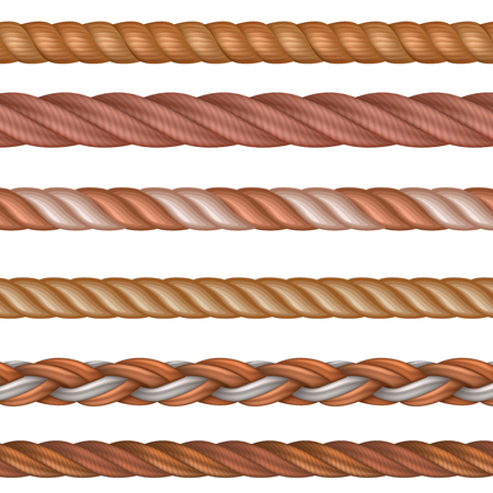 Realistic seamless rope and nautical cables vector set isolated on white background. Illustration of twisted fiber and cord string