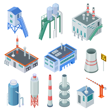 Isometric industrial buildings. Factory building power station industrial zone equipment 3d isolated vector set. Building isometric industry, construction 3d plant manufacturing