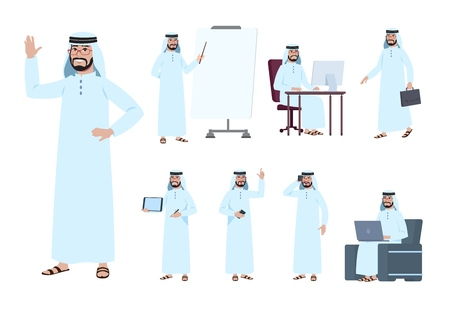 Arab businessman. Saudi business people character. Islam arabian male in business activity vector set. Business people saudi arab character illustration