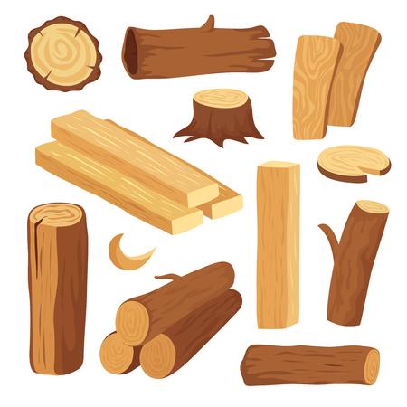 Bois de dessin animé. Bûche et tronc de bois, souche et planche. Bûches de bois de chauffage. Ensemble isolé de vecteur de matériaux de construction de feuillus. Illustration du bois de chauffage et du bois naturel Vecteurs