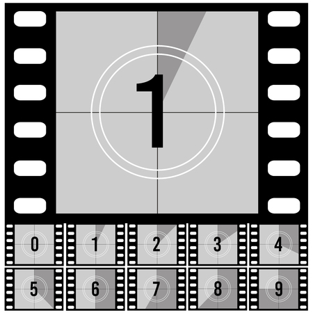 Countdown frames. Retro film movie timer universal counter with numbers. Vector set of countdown frame to start video illustration
