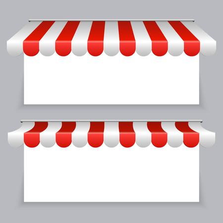 Conjunto de banners de vector con toldos a rayas. Ilustración del dosel del toldo para escaparate.