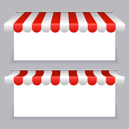 Vector banners with striped awning tents set. Illustration of awning canopy for storefront Illustration