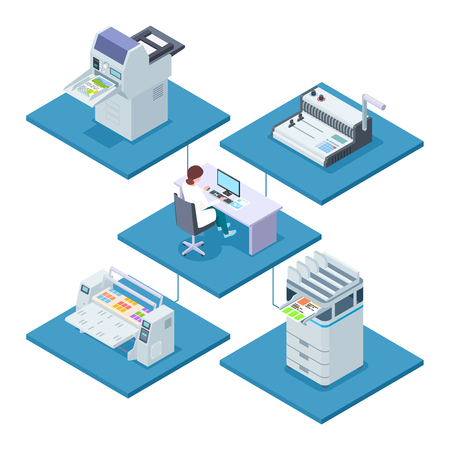 Printing house with woman opertator isometric vector concept. Woman control processing printer and multifunction electronic printshop illustration